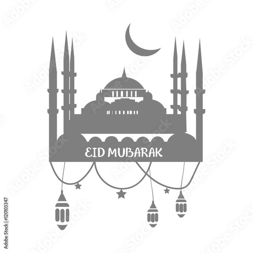 Muslim Community Greetings Card Vector Template With Mosque could be