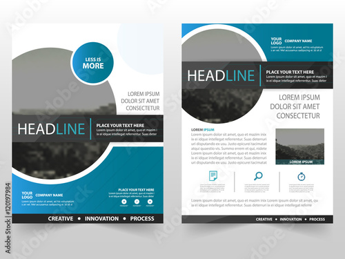 Blue circle Vector business proposal Leaflet Brochure Flyer template
