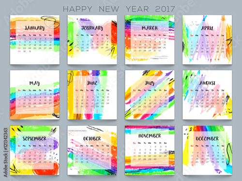 Colorful Yearly Calendar for New Year 2017 - Buy this stock vector - yearly calendar