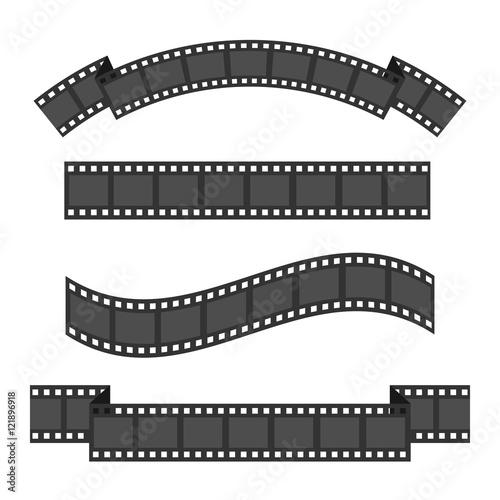 Film strip frame four set Different shape ribbon Design element