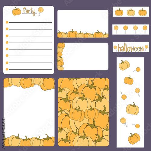 cute cartoon halloween vector printable collection set with card