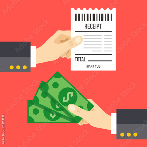 Hand holding receipt and hand holding money Pay a bill with cash - money receipt design