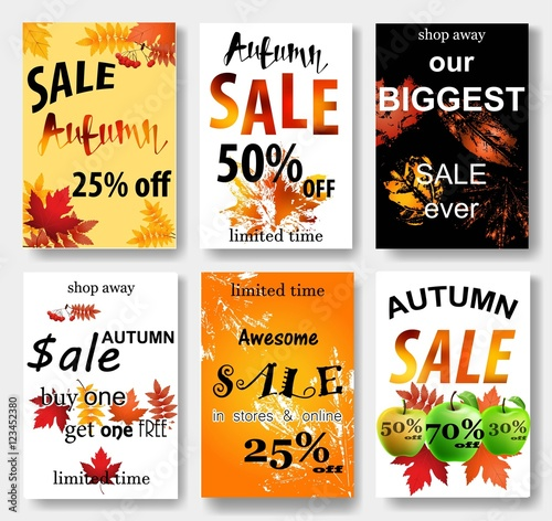 Collection of autumn sale and other typography flyer template - Buy