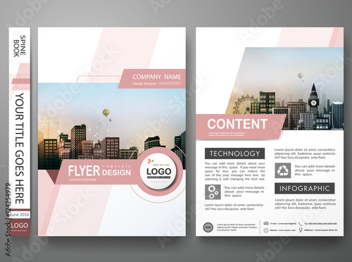 Brochure design template vectorPink abstract shape cover book
