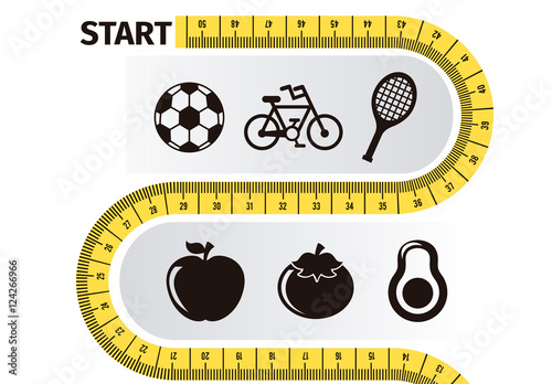 Health and Fitness Goal Infographic with Measuring Tape Element and