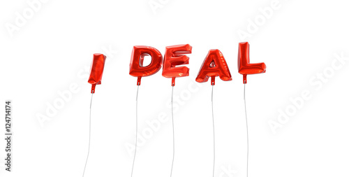 IDEAL - word made from red foil balloons - 3D rendered Can be used