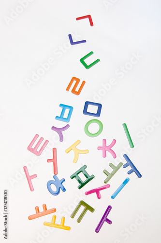 colorful korean letters, alphabet on white backgrounds - Buy this