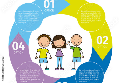 Youth Data Infographic with Circular Arrow Cluster and Child Style