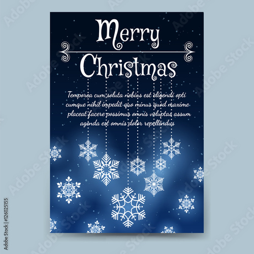 Winter brochure flyer template in A6 format Christmas poster or