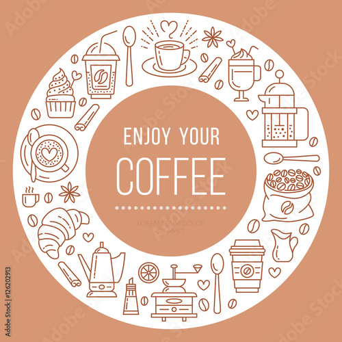 Coffee shop poster template Vector line illustration of
