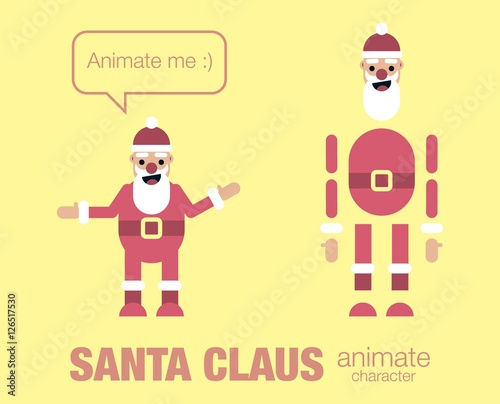 flat santa claus character for your scenes Parts of body template