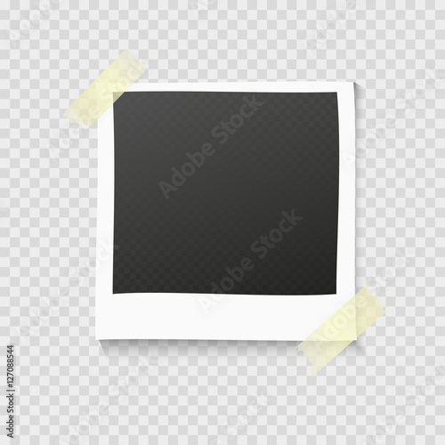 Realistic vector photo frame on sticky tape Template photo design