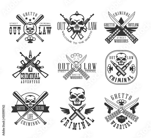 Street Outlaw Criminal Club Black And White Sign Design Templates