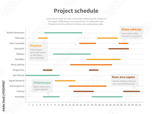 Project plan schedule chart with timeline, gantt progress vector