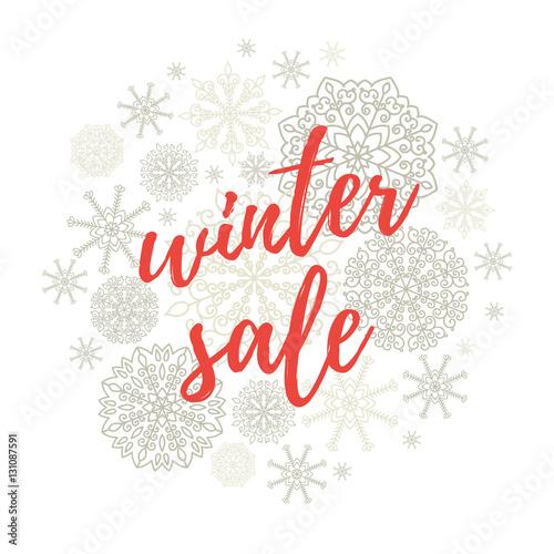 Winter sale label, banner, sticker Vector winter holidays