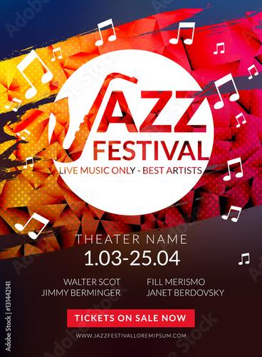 Vector musical flyer Jazz festival Music poster background festival - music brochure