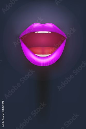 Night club Poster Female mouth on dark Background Party Invitation