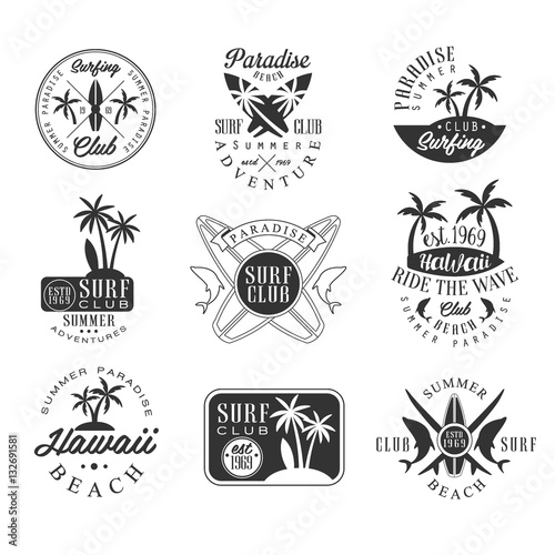 Summer Vacation In Hawaii Black And White Sign Design Templates With