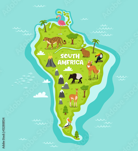 South american map with wildlife animals vector illustration