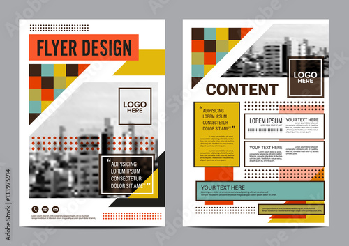 modern retro Brochure Layout design template Annual Report Flyer - retro brochure template