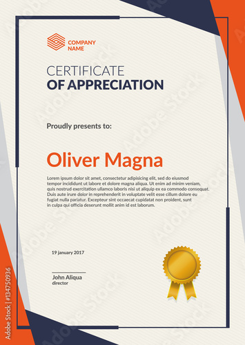 Certificate of Appreciation template Flat geometric design Layered