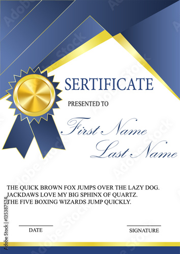 Certificate with gold medal template Fashionable modern geometry