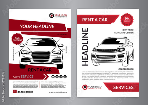Set A4 rent a car business flyer template Auto service Brochure