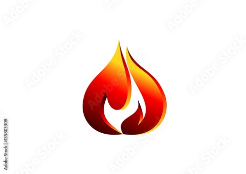 fire, flame, logo, red modern flame logotype, 3D hot fire logo - flame logo
