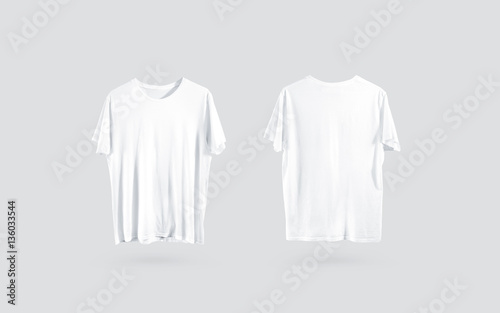 Blank white t-shirt front and back side view, design mockup Clear