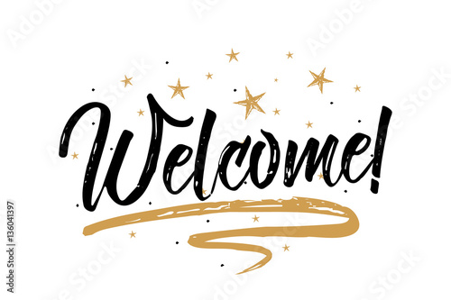 Welcome card, bannerBeautiful greeting scratched calligraphy black