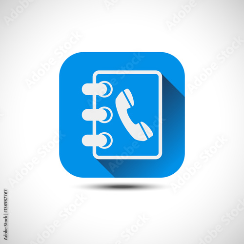 Isolated Blue Phonebook Icon Address Book Icon Flat Vector Ico
