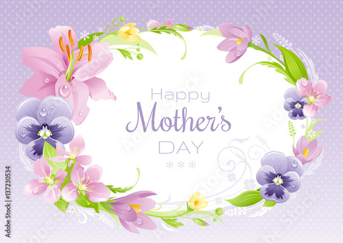 Spring background Happy Mothers day flyer Flower frame lily, pansy