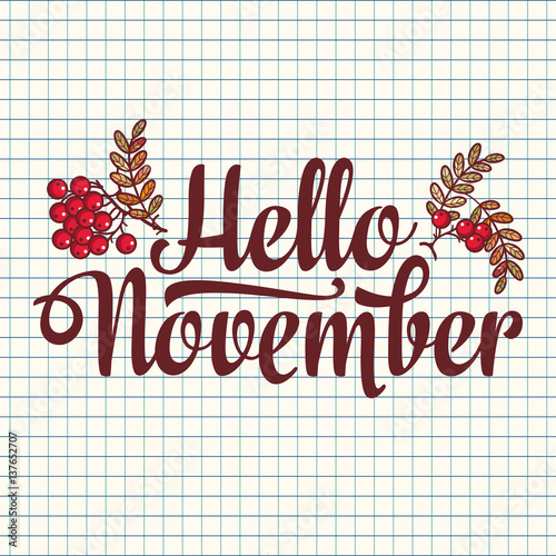Hello November lettering composition flyer or banner template