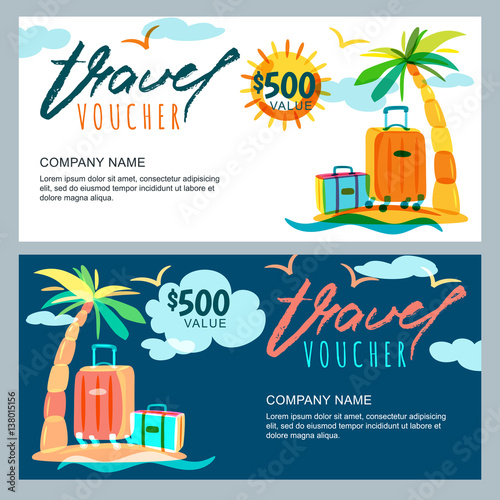 Vector gift travel voucher template Tropical island landscape with