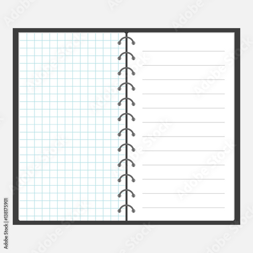 Open notebook with spiral and blank line cell paper Lined page