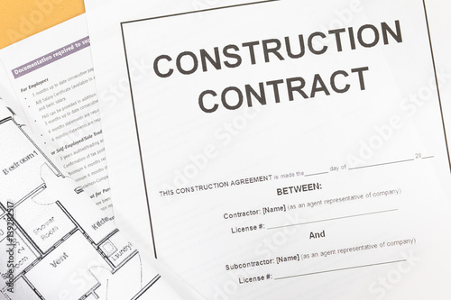 Close - up Blank construction contract paper - Buy this stock photo