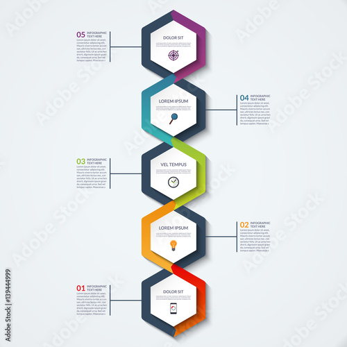 Infographic template of hexagonal elements Vertical timeline