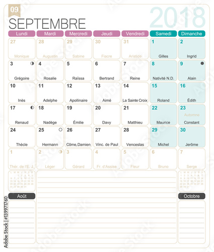 French calendar 2018 / September 2018, French printable monthly