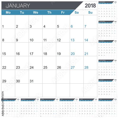 Calendar 2018 / English calendar template for year 2018, set of 12