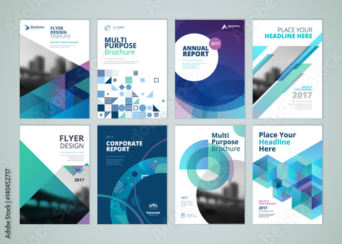 Brochure, annual report, flyer design templates in A4 size Set of