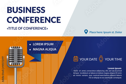 Business conference invitation concept Retro micrpophone Colorful
