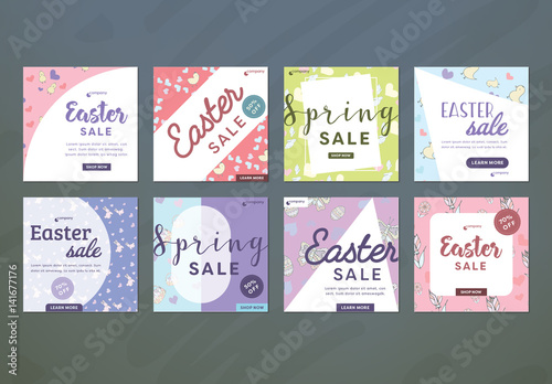 8 Square Easter Sale Ad Layouts for Social Media Buy this stock