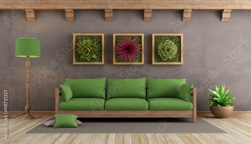 Retro living room with green sofa - image Adobe Stock - retro living room furniture