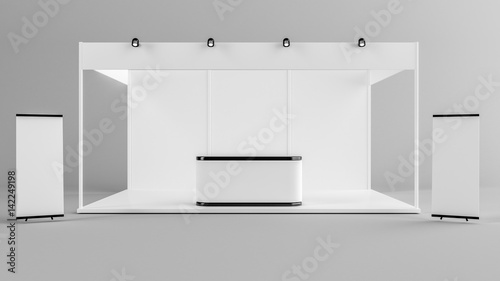 White creative exhibition stand design Booth template Corporate - po booth template