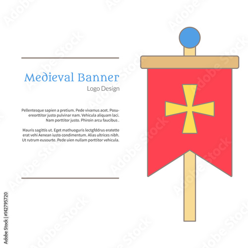 Medieval banner, knight flag Single logo in flat and thin line