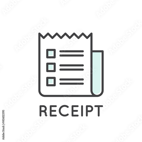 Vector Icon Style Illustration of Receipt paper Invoice, Isolated