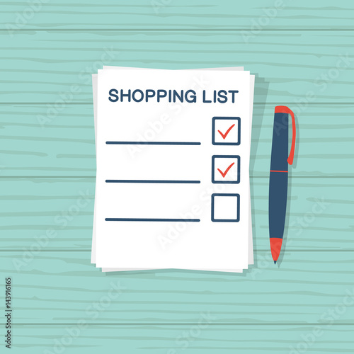 Paper sheet with shopping list Template for product purchase Blank