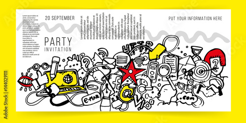 Party invitation template Hipster style Doodle Stylized forms