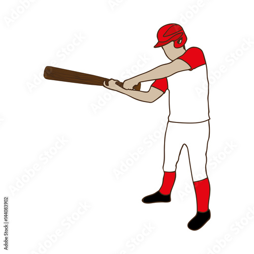 silhouette color of baseball player with baseball bat vector