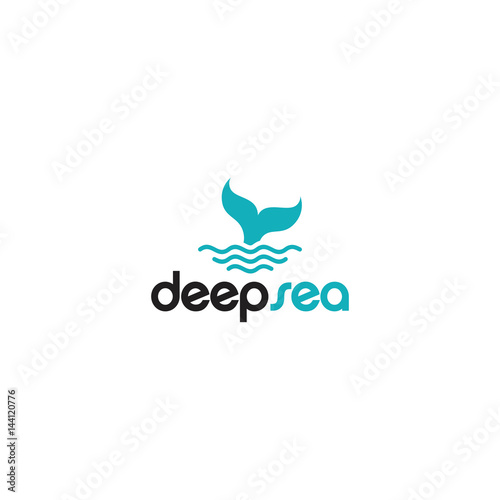 deep sea logo with whale tail and wave template designs - Buy this